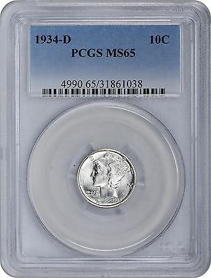 1934-D Mercury Dime MS65 PCGS Mint State 65