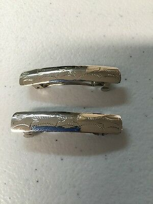 Navajo Indian Jewelry 1 Pair Hair Clip Barrette Sterling Native American Wow  #1