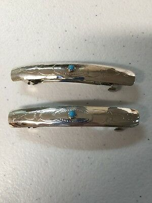 Navajo Indian Jewelry 1 Pair Hair Clip Barrette Turquoise Native American Nice 1