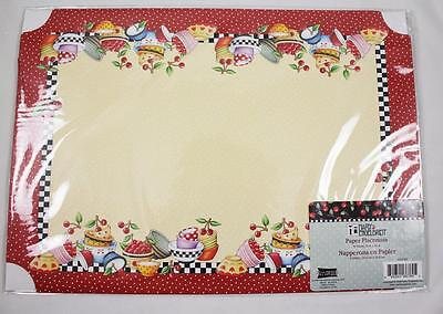 Mary Engelbreit Paper Placemats BOWLS & CHERRIES Pkg of 6 NEW