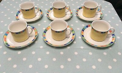 Villeroy And Boch Twist Alea Limone Set Of 6 Cups And Saucers