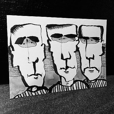 Aceo signed original by MOE outsider art cartoon black & white ink sketch sb35