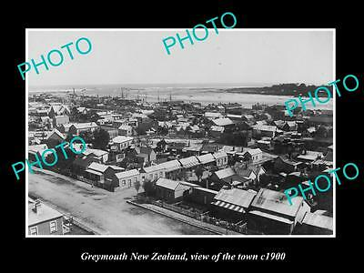 OLD LARGE HISTORIC PHOTO OF GREYMOUTH NEW ZEALAND, AERIAL VIEW OF THE TOWN c1900