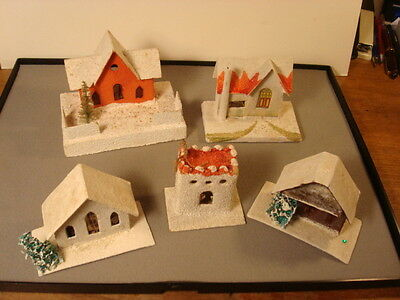 "Five Christmas Mica Houses, Japan, Cardboard Putz Size, 2 3/4"" To 4 3/4"" Wide"