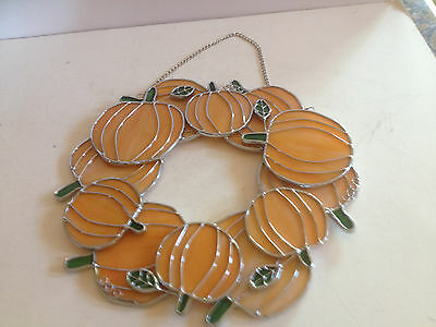 Brand New Unique Stained Glass Large Pumpkin Wreath Suncathcher Wreath