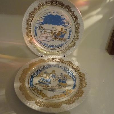 Spode Christmas Pastimes Series of 6 - Selling Series -1 Sleigh Ride & 2 Snowman