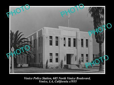OLD LARGE HISTORIC PHOTO OF VENICE CALIFORNIA, THE VENICE POLICE STATION c1935