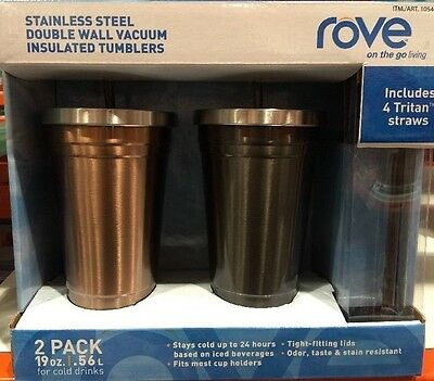 df444e89aa1 ROVE STAINLESS STEEL Double Wall Insulated Vacuum Tumblers 2 Pack Black &  Bronze