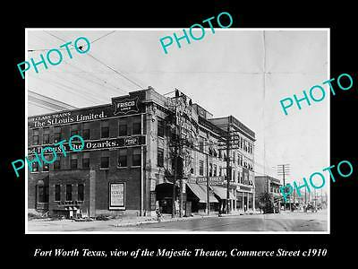 OLD LARGE HISTORIC PHOTO OF FORT WORTH TEXAS, VIEW OF MAJESTIC THEATRE c1910