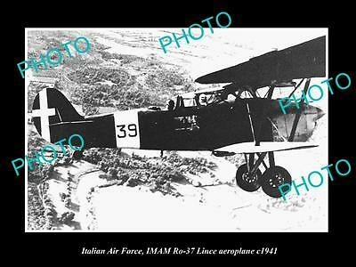 Old Large Historic Photo Of Italy Air Force, Imam Lince Plane 1941