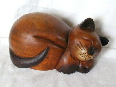 """Cat Sculpture, Hand Carved Solid Wood, 8 1/2"""" Long, LOOK!"""