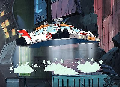 THE REAL GHOSTBUSTERS 1986 DiC ORIGINAL CEL & HAND PAINTED BACKGROUND ARTWORK.
