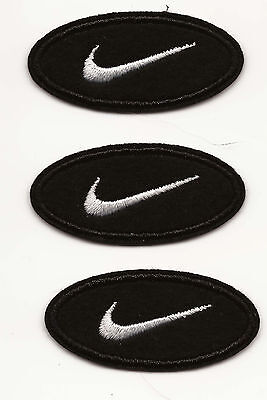 3x White on Black Circle Nike Swoosh Embroidered Patch Iron-on Art Good Luck