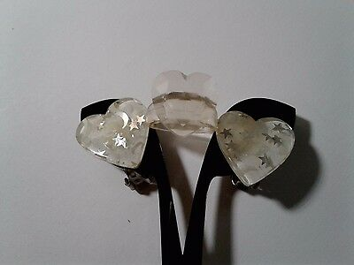 Vintage Confetti Lucite Moon & Stars Ring Heart Earrings Ring Clear Silver White