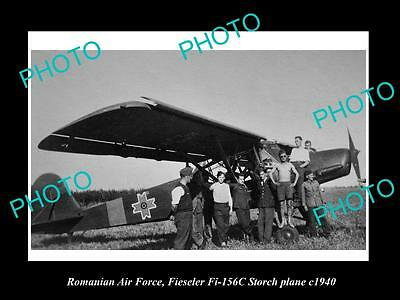 Old Large Historic Photo Of Romania Air Force, Fieseler Storch Plane 1940
