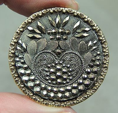 Lacy Iridescent Black Glass In Metal Button