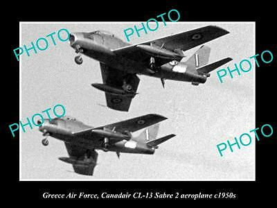 Old Large Historic Photo Of Greece Air Force, Canadair Sabre Plane 1950