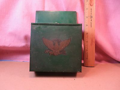 Vintage Hand Made Tin Wall Hanging Letter / Match Box Holder -m/ Tom Fogarty VGC