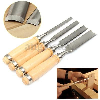 """4Pc 9.5"""" Carving Set Wood Gouge Chisel Tool Woodworking Tools Handle Hand DIY US"""