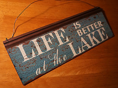 LIFE IS BETTER AT THE LAKE Sign Rustic Blue Lodge Fishing Cabin Home Decor NEW A