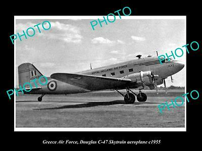 Old Large Historic Photo Of Greece Air Force, Douglas Skytrain Plane 1955