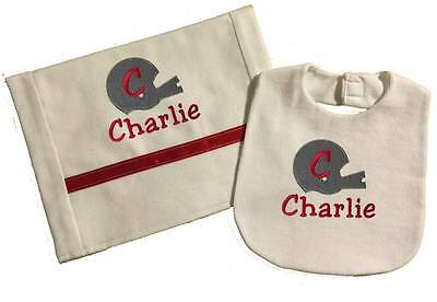 Handmade Red Personalized Embroidered Football Helmet Bib and Burp Cloth Set