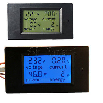 New 20A AC Digital LCD Panel Power Meter Monitor Power Energy Voltmeter Ammeter