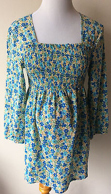 Women's Size Medium M Two Hearts Maternity Floral Print Cotton Blouse