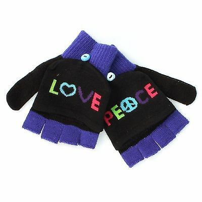 SO Black Love Peace Convertible Mittens Fingerless Gloves for Girls - One Size