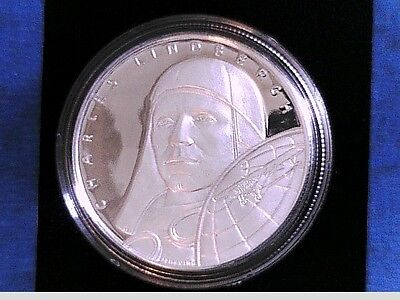 2003 Charles Lindbergh $10 Republic of Liberia 1 Troy Oz .999 Silver Proof Coin