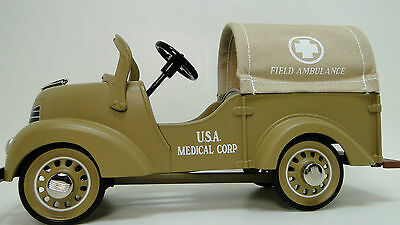 Dodge Army Truck Pedal Car WW2  U S Military Medical Ambulance Vintage Model Art