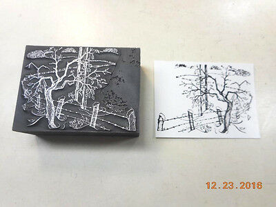 Printing Letterpress Printers Block, Decorative Winter Scene, Printers Cut