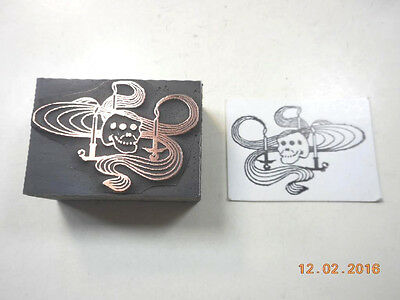 Printing Letterpress Printers Block, Skull w 3 Burning Candles, Printers Cut