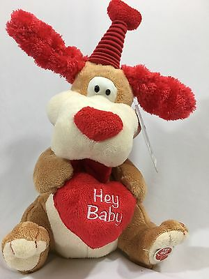 """Animated Flapping Ears Dog Plays """"Hey Baby"""" Plush Valentine's Day NWT Red Heart"""
