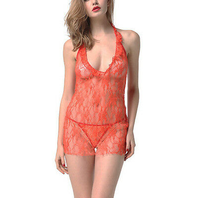 Red Womens Sleepwear Lingerie Babydoll Set Sheer Lace Short Chemise +G-String