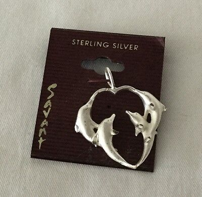 Vintage STERLING SILVER Heart Shaped DOLPHIN PENDANT