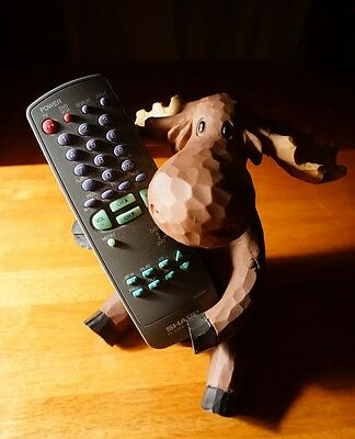 Faux Wood Carved Moose Remote Control Holder Caddy Cabin Lodge Home Decor - NEW