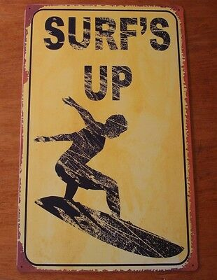 Rustic SURFS UP ROAD STREET SIGN Surfer Surfing Surfboard Beach Sign Home Decor