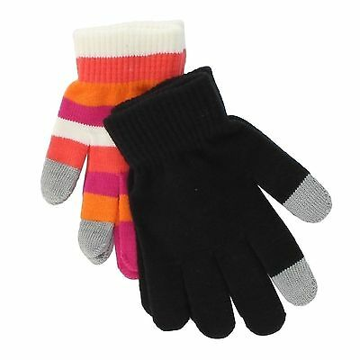 SO Orange Striped Black Touchscreen Texting Gloves for Girls - 2 Pack - One Size