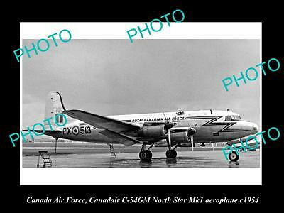 OLD LARGE HISTORIC PHOTO OF CANADA AIR FORCE, RCAF CANADAIR C-54GM PLANE c1954