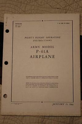 Original 1944 Aaf Northrop P-61A Black Widow Pilots Flight Manual Handbook-Rare