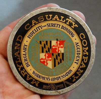 Antique MARYLAND CASUALTY INSURANCE Vintage CELLULOID & ALUMINUM Paperweight