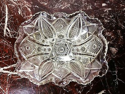 Antique Victorian Fruit Bowl - Indiana Panelled Daisy & Finecut EAPG Glass