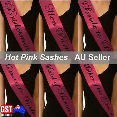 Hot Pink Sashes Black Text Hens Night Party Bridal Bride To Be Bridesmaid Weddin
