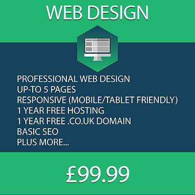 5 Page Professional Responsive Web Website Design With Domain and a year Hosting