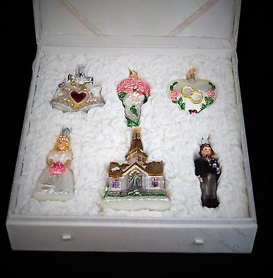 Gift Boxed Set Of 6 Old World Christmas Wedding Collection Ornaments -Beautiful!