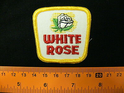 Embroidered patch WHITE ROSE NOS vintage CANADA defunct service station oil gas