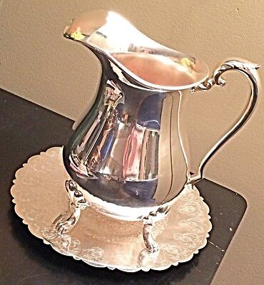 Vintage Crescent Silver Co. Footed Water Pitcher With Ice Catcher Lid