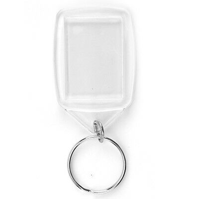 100x Acrylic Plastic Blank Clear Keyrings 35x25MM Insert Photo Key Rings Gift a2