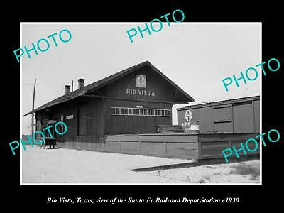 OLD LARGE HISTORIC PHOTO OF RIO VISTA TEXAS, THE RAILROAD DEPOT STATION c1930